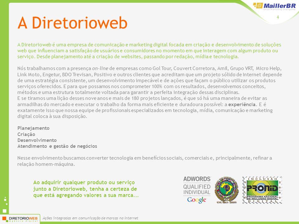 Ações integradas em comunicação de marcas na Internet 4 A Diretorioweb A Diretorioweb é uma empresa de comunicação e marketing digital focada em criaç