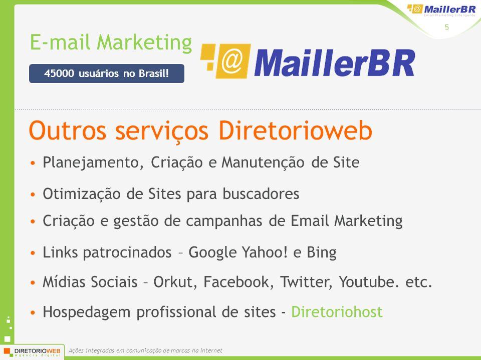 Ações integradas em comunicação de marcas na Internet E-mail Marketing 5 Planejamento, Criação e Manutenção de Site Otimização de Sites para buscadores Links patrocinados – Google Yahoo.