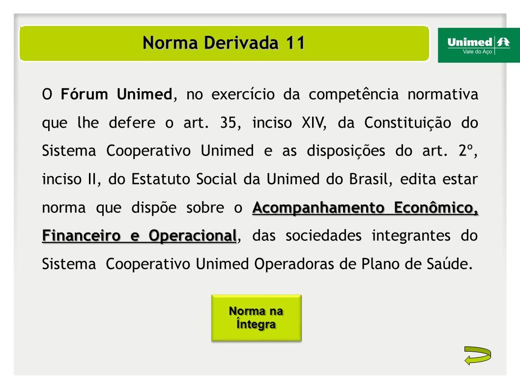 Norma Derivada 11 Norma Derivada 11 Acompanhamento Econômico, Financeiro e Operacional O Fórum Unimed, no exercício da competência normativa que lhe d