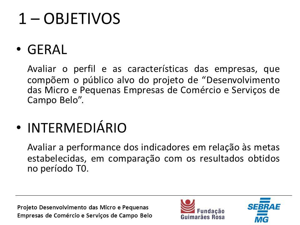 1 – OBJETIVOS GERAL Avaliar o perfil e as características das empresas, que compõem o público alvo do projeto de Desenvolvimento das Micro e Pequenas Empresas de Comércio e Serviços de Campo Belo.