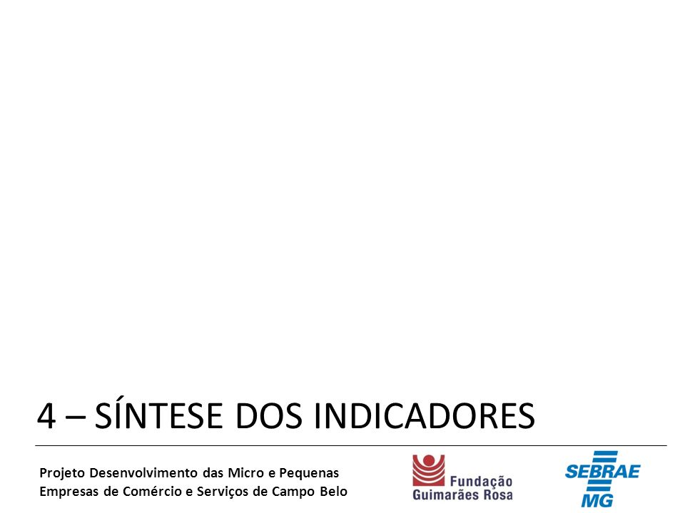 4 – SÍNTESE DOS INDICADORES Projeto Desenvolvimento das Micro e Pequenas Empresas de Comércio e Serviços de Campo Belo