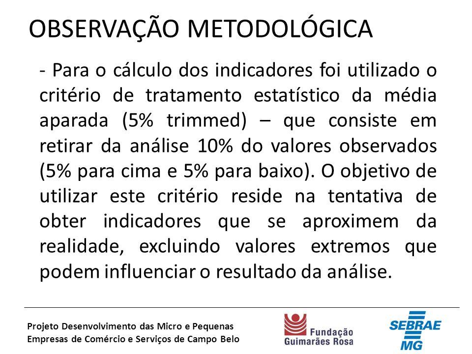 OBSERVAÇÃO METODOLÓGICA - Para o cálculo dos indicadores foi utilizado o critério de tratamento estatístico da média aparada (5% trimmed) – que consiste em retirar da análise 10% do valores observados (5% para cima e 5% para baixo).