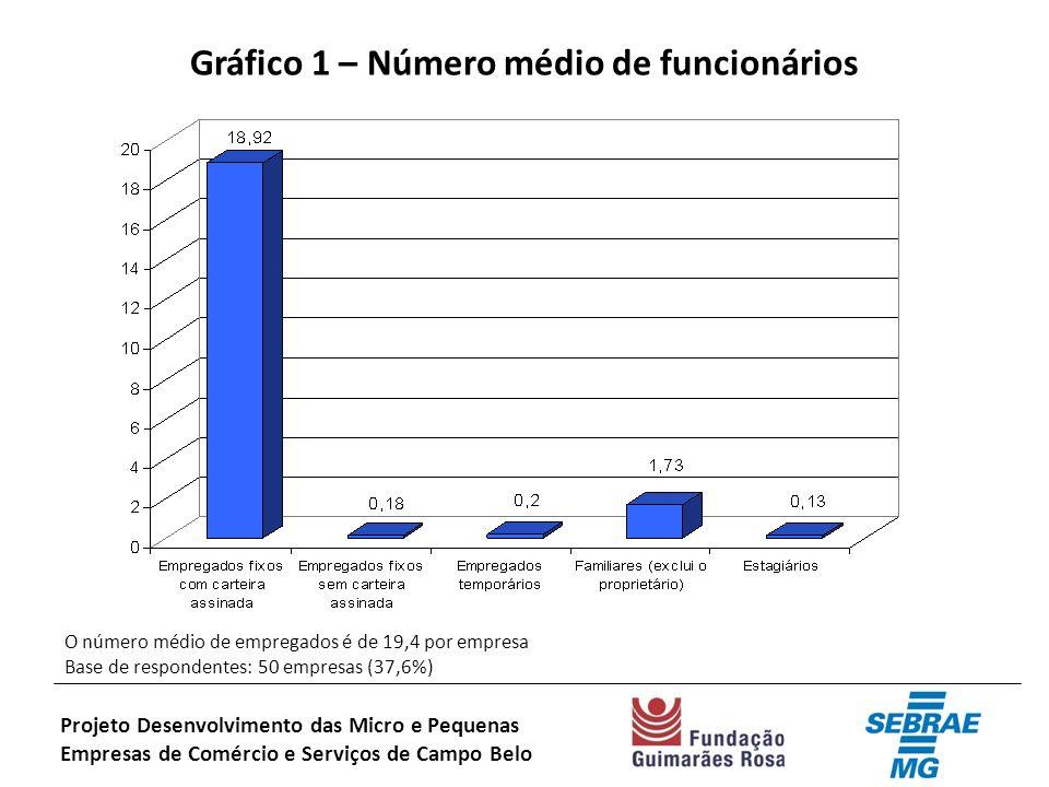 Gráfico 1 – Número médio de funcionários O número médio de empregados é de 19,4 por empresa Base de respondentes: 50 empresas (37,6%) Projeto Desenvolvimento das Micro e Pequenas Empresas de Comércio e Serviços de Campo Belo