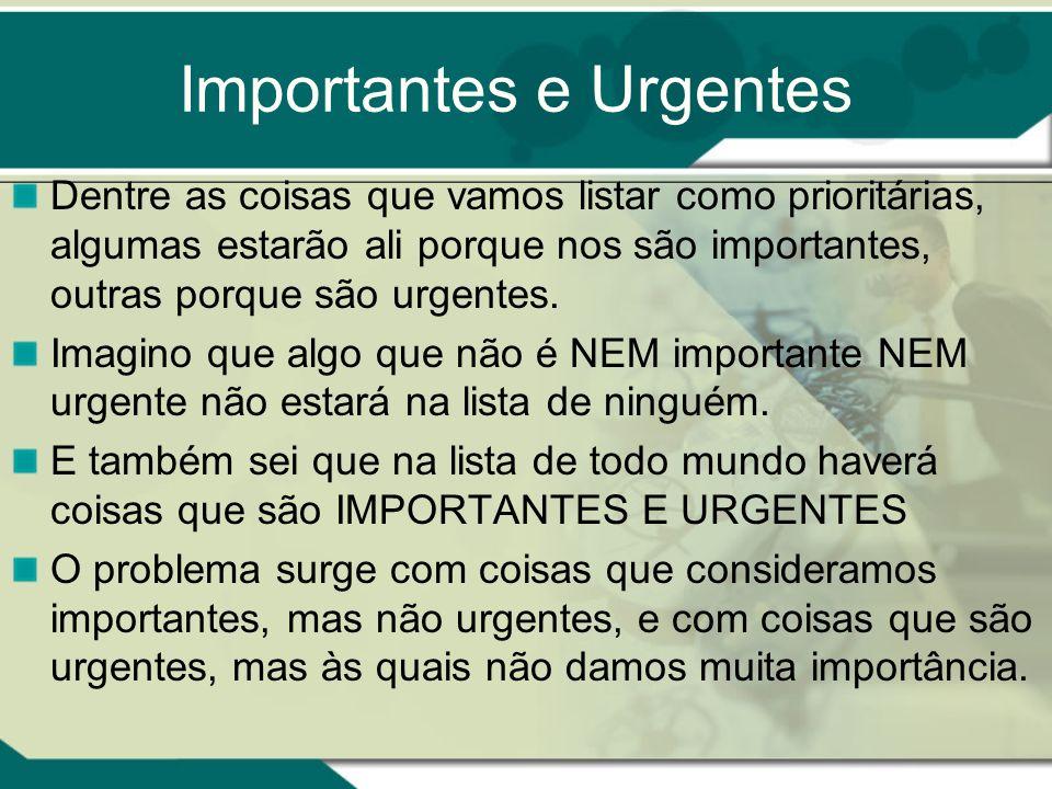 Importantes e Urgentes Dentre as coisas que vamos listar como prioritárias, algumas estarão ali porque nos são importantes, outras porque são urgentes.