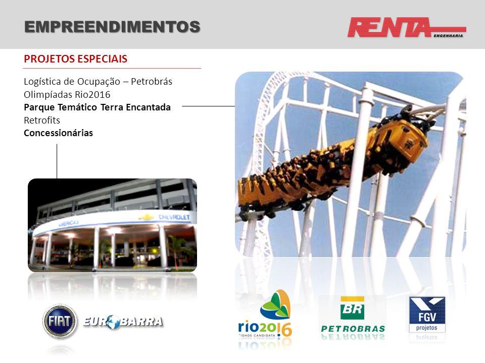 EMPREENDIMENTOS Logística de Ocupação – Petrobrás Olimpíadas Rio2016 Parque Temático Terra Encantada Retrofits Concessionárias PROJETOS ESPECIAIS