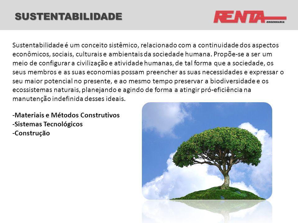 SUSTENTABILIDADE MATERIAIS E MÉTODOS CONSTRUTIVOS - Método racionalizado: Bloco cerâmico estrutural - Materiais locais, renováveis e de menor impacto ambiental - Madeira de reflorestamento ou certificada FSC -Tijolos e telhas cerâmicos de produção local, reduzindo gastos energéticos com transporte -Paisagismo privilegiando espécies nativas locais ________________________________________________________ SISTEMAS TECNOLÓGICOS - Instalações hidráulicas utilizando dispositivos economizadores -Tratamento de efluentes – Reuso ________________________________________________________ CONSTRUÇÃO - Canteiro de Obra com Baixo Impacto Ambiental - Plano de Prevenção e Controle Ambiental do Canteiro de Obras - Projeto de Gerenciamento de Resíduos da Construção (CONAMA) - Plano de Sustentabilidade - Treinamento e Educação Ambiental para os Operários