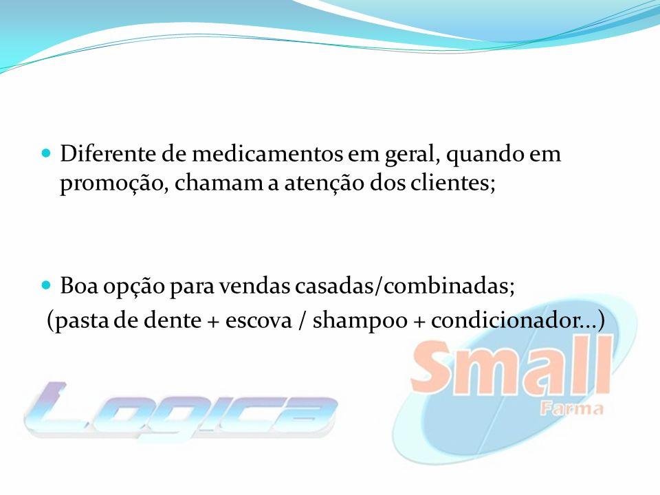 Boa opção para vendas casadas/combinadas; (pasta de dente + escova / shampoo + condicionador...)