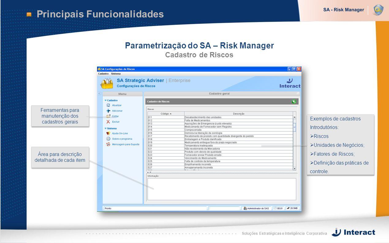 Soluções Estratégicas e Inteligência Corporativa Principais Funcionalidades Parametrização do SA – Risk Manager Cadastro de Riscos Ferramentas para ma