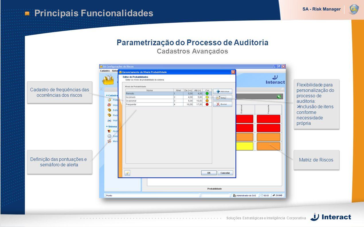 Soluções Estratégicas e Inteligência Corporativa Principais Funcionalidades Parametrização do Processo de Auditoria Cadastros Avançados Cadastro de fr