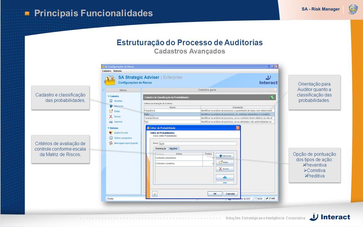 Soluções Estratégicas e Inteligência Corporativa Principais Funcionalidades Estruturação do Processo de Auditorias Cadastros Avançados Cadastro e clas