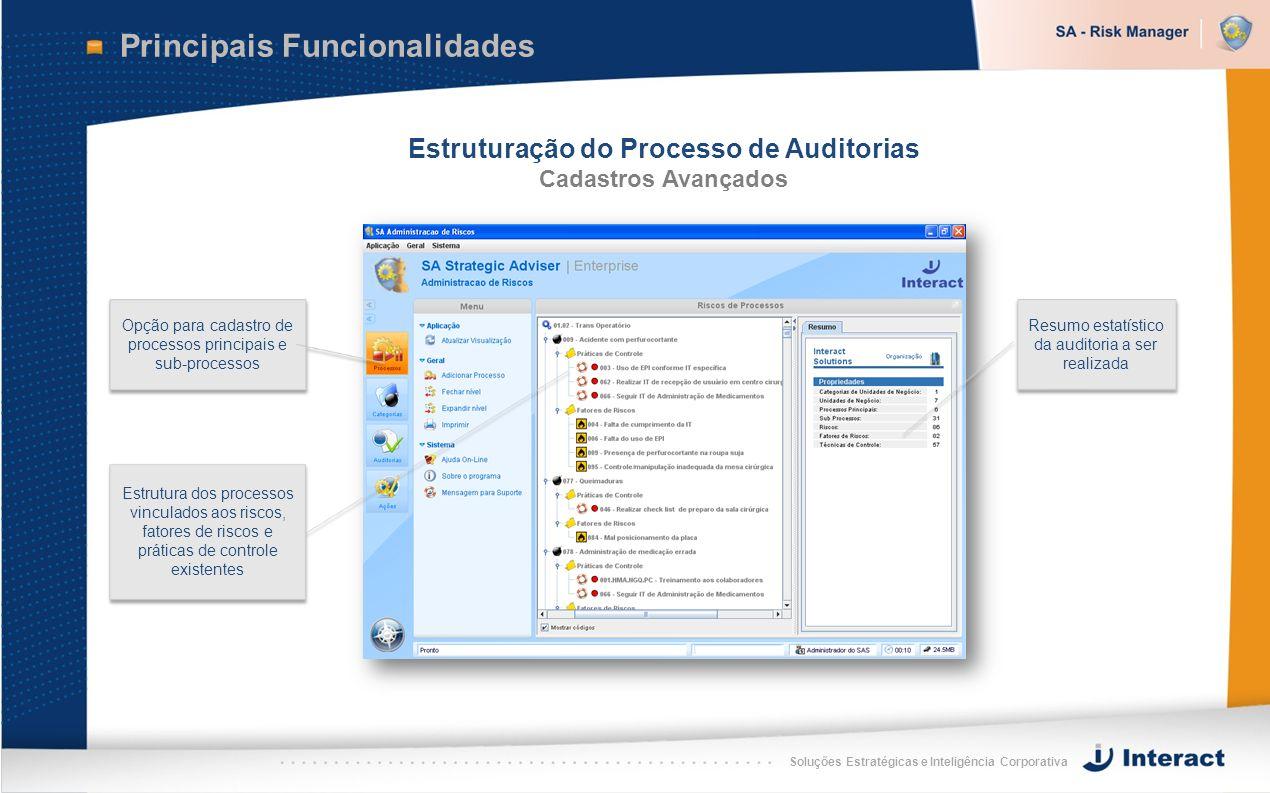 Soluções Estratégicas e Inteligência Corporativa Principais Funcionalidades Estruturação do Processo de Auditorias Cadastros Avançados Estrutura dos p