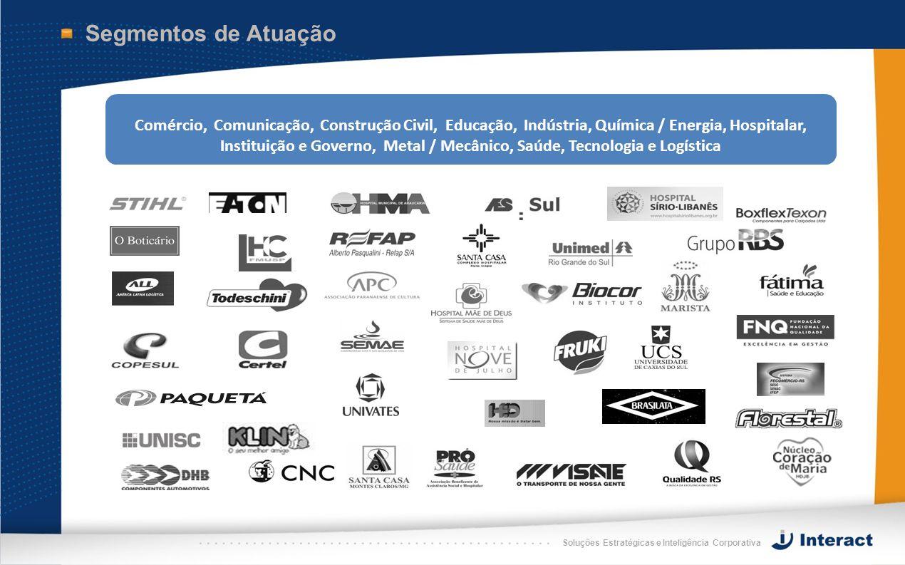 Soluções Estratégicas e Inteligência Corporativa Segmentos de Atuação Comércio, Comunicação, Construção Civil, Educação, Indústria, Química / Energia,