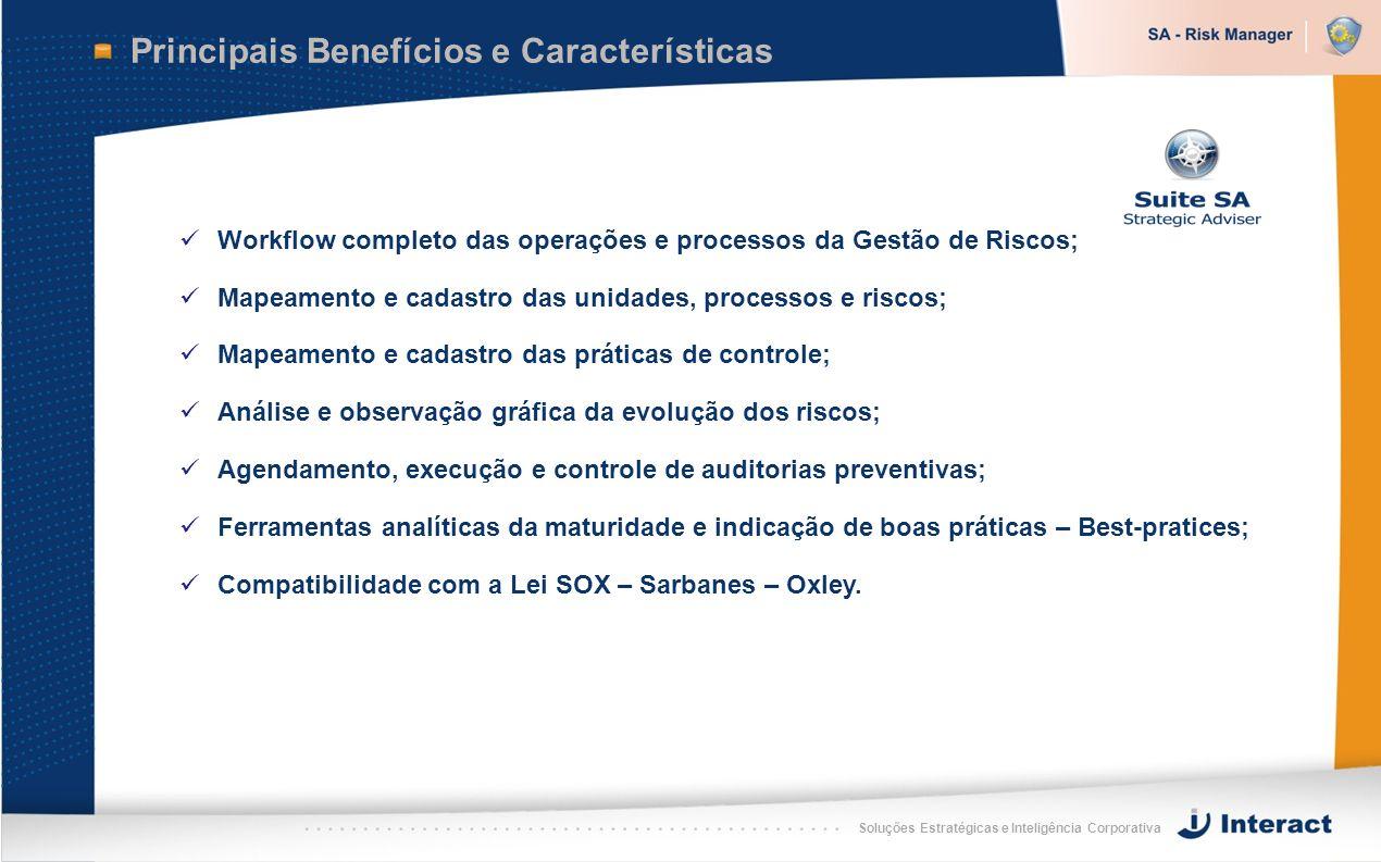 Soluções Estratégicas e Inteligência Corporativa Principais Benefícios e Características Workflow completo das operações e processos da Gestão de Risc