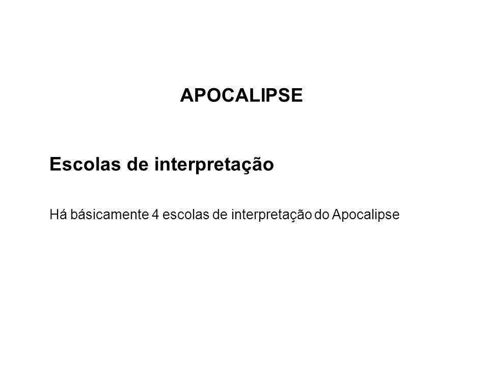 APOCALIPSE Escolas de interpretação Há básicamente 4 escolas de interpretação do Apocalipse