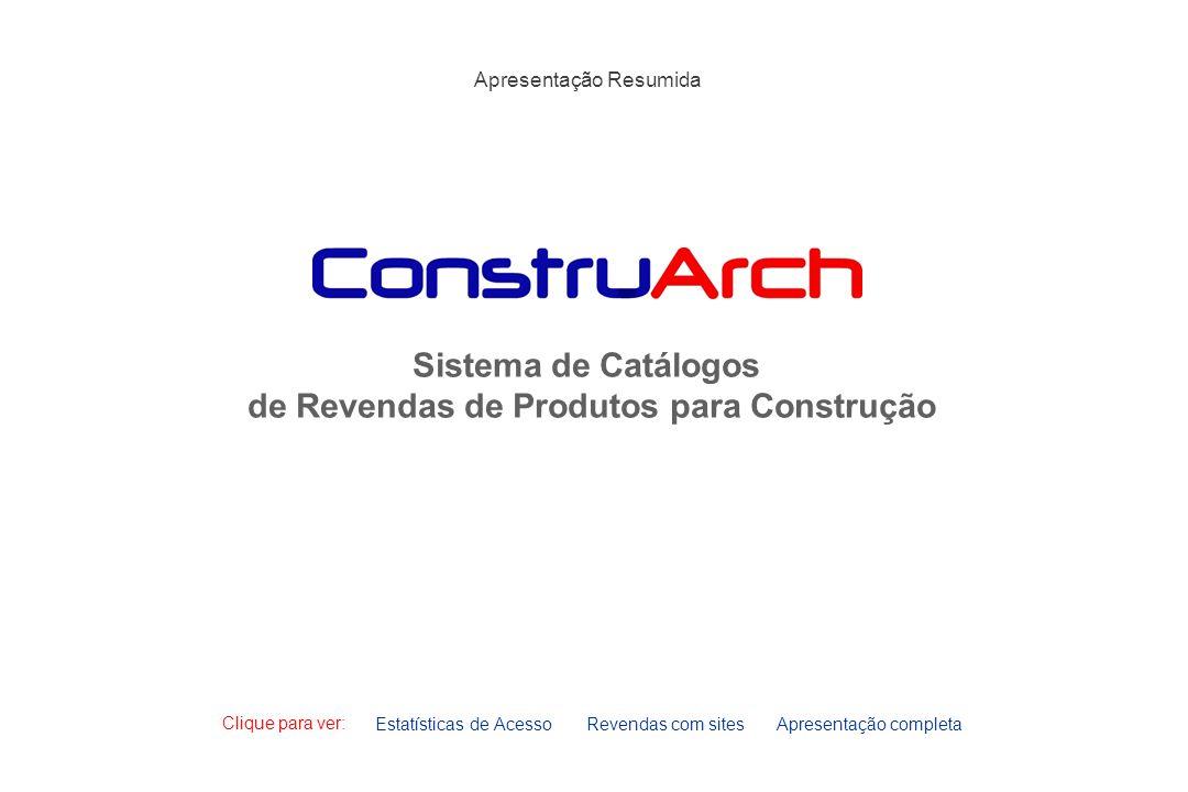 Sistema de Catálogos de Revendas de Produtos para Construção Estatísticas de AcessoRevendas com sites Clique para ver: Apresentação Resumida Apresenta
