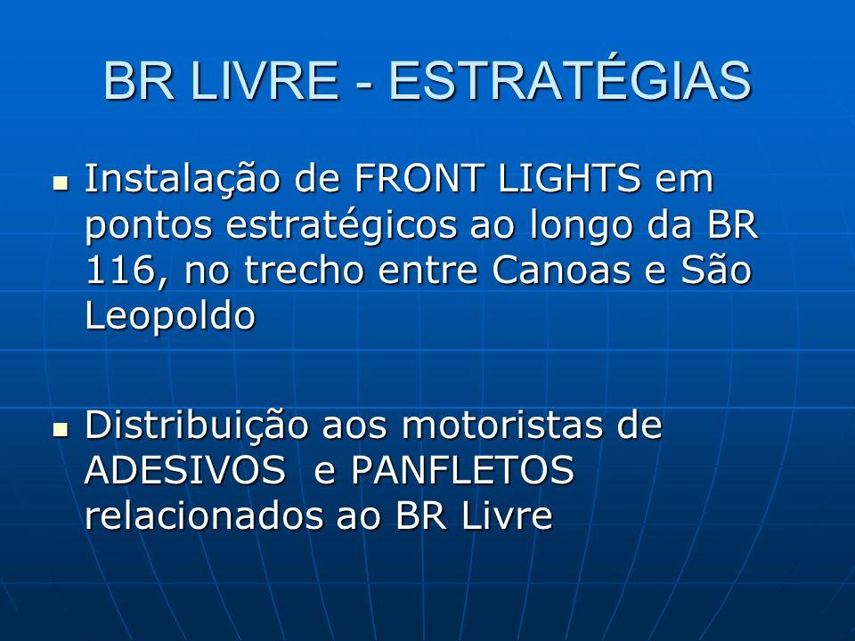 BR LIVRE - ESTRATÉGIAS Instalação de FRONT LIGHTS em pontos estratégicos ao longo da BR 116, no trecho entre Canoas e São Leopoldo Instalação de FRONT