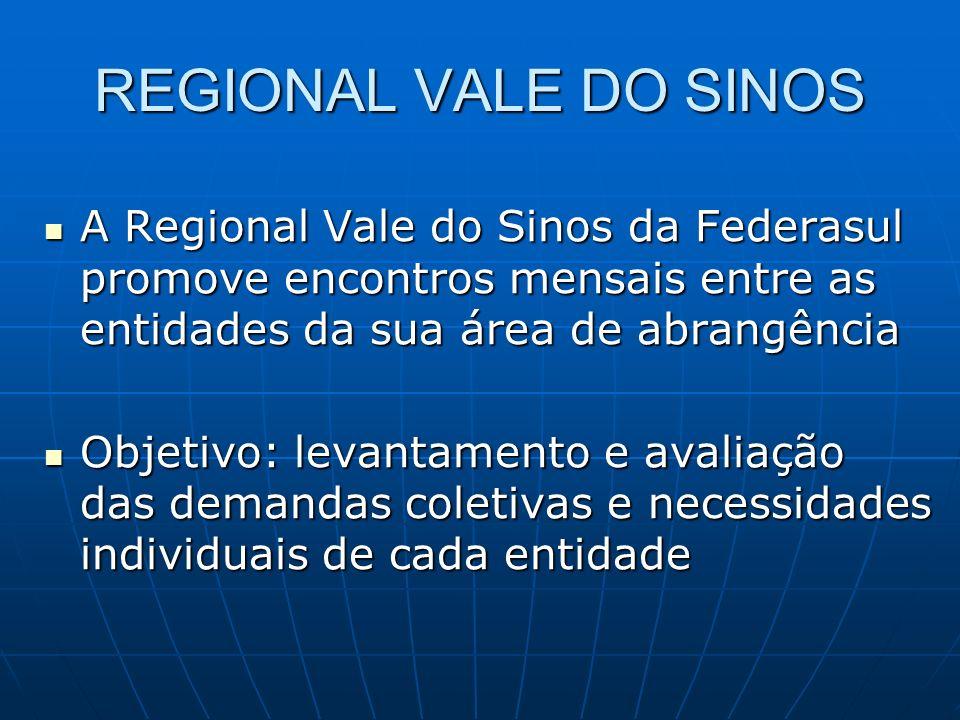 REGIONAL VALE DO SINOS A Regional Vale do Sinos da Federasul promove encontros mensais entre as entidades da sua área de abrangência A Regional Vale d