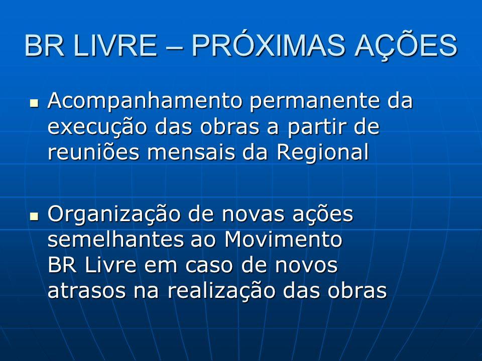 BR LIVRE – PRÓXIMAS AÇÕES Acompanhamento permanente da execução das obras a partir de reuniões mensais da Regional Acompanhamento permanente da execuç