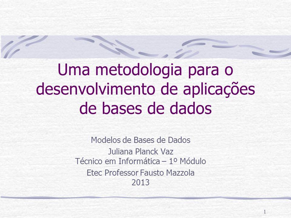 1 Uma metodologia para o desenvolvimento de aplicações de bases de dados Modelos de Bases de Dados Juliana Planck Vaz Técnico em Informática – 1º Módu