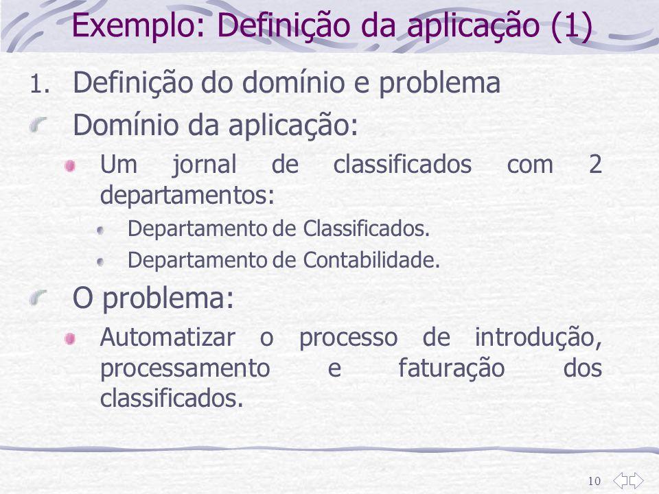 10 Exemplo: Definição da aplicação (1) 1. Definição do domínio e problema Domínio da aplicação: Um jornal de classificados com 2 departamentos: Depart