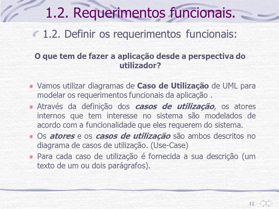 11 1.2. Requerimentos funcionais. 1.2. Definir os requerimentos funcionais: O que tem de fazer a aplicação desde a perspectiva do utilizador? Vamos ut