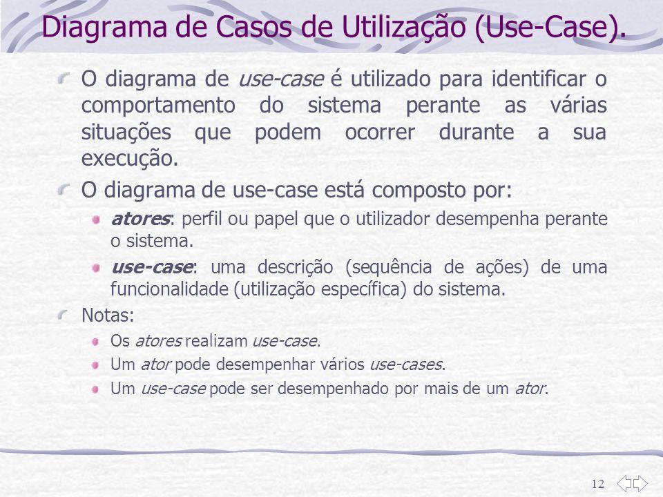 12 Diagrama de Casos de Utilização (Use-Case). O diagrama de use-case é utilizado para identificar o comportamento do sistema perante as várias situaç
