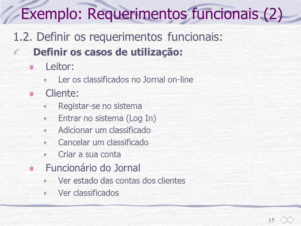 15 Exemplo: Requerimentos funcionais (2) 1.2. Definir os requerimentos funcionais: Definir os casos de utilização: Leitor: Ler os classificados no Jor