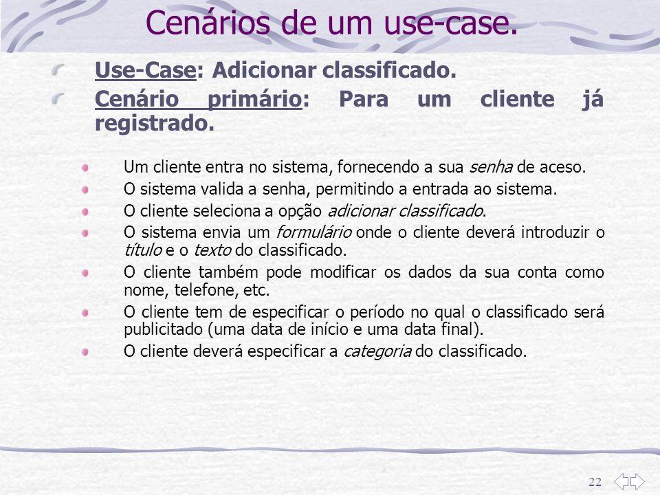 22 Cenários de um use-case. Use-Case: Adicionar classificado. Cenário primário: Para um cliente já registrado. Um cliente entra no sistema, fornecendo