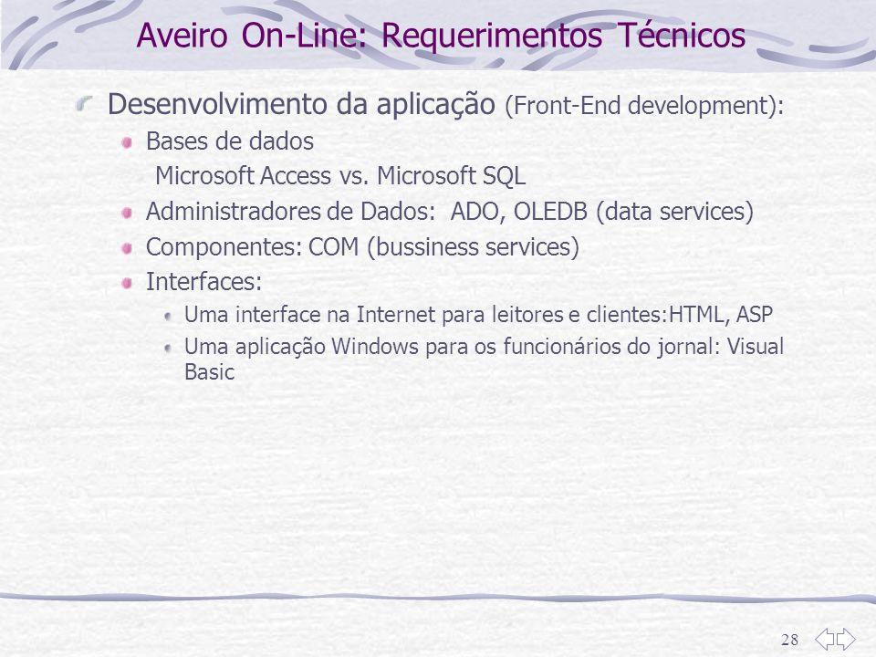 28 Aveiro On-Line: Requerimentos Técnicos Desenvolvimento da aplicação (Front-End development): Bases de dados Microsoft Access vs. Microsoft SQL Admi