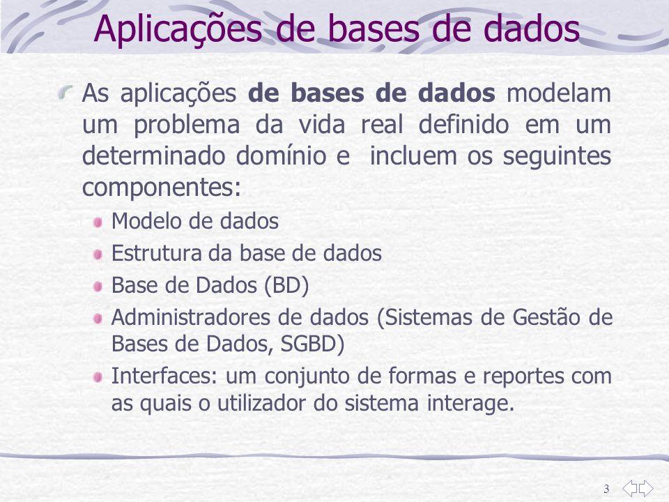 3 Aplicações de bases de dados As aplicações de bases de dados modelam um problema da vida real definido em um determinado domínio e incluem os seguin