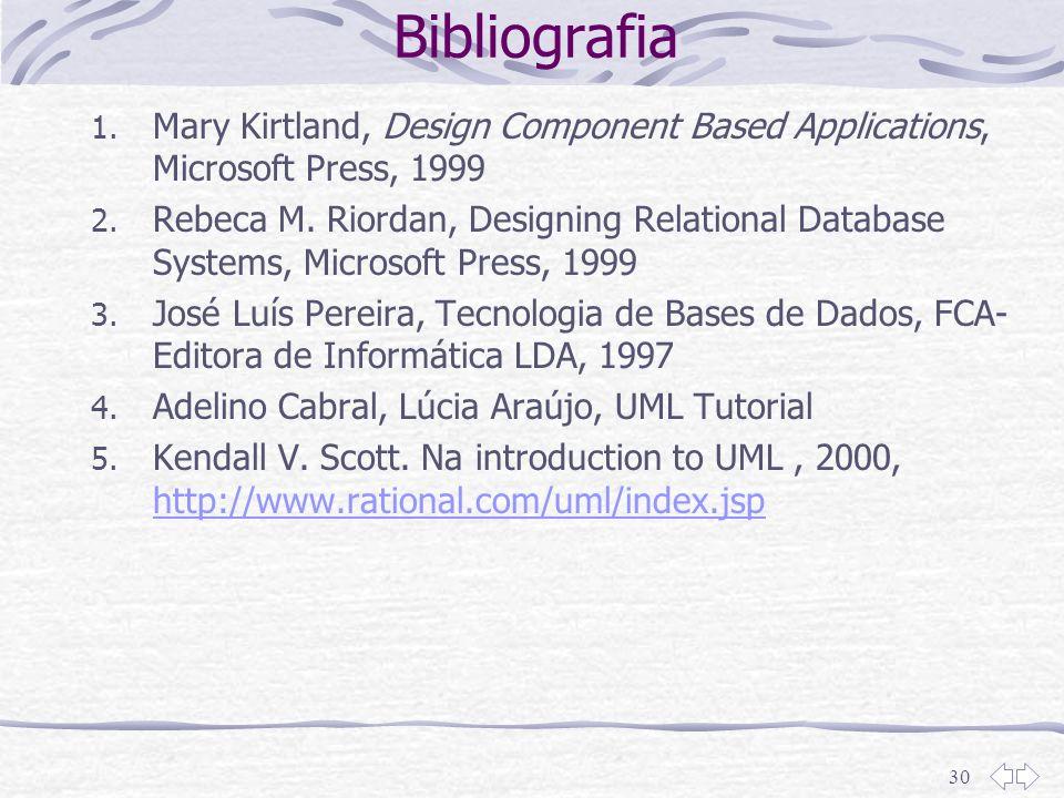 30 Bibliografia 1. Mary Kirtland, Design Component Based Applications, Microsoft Press, 1999 2. Rebeca M. Riordan, Designing Relational Database Syste