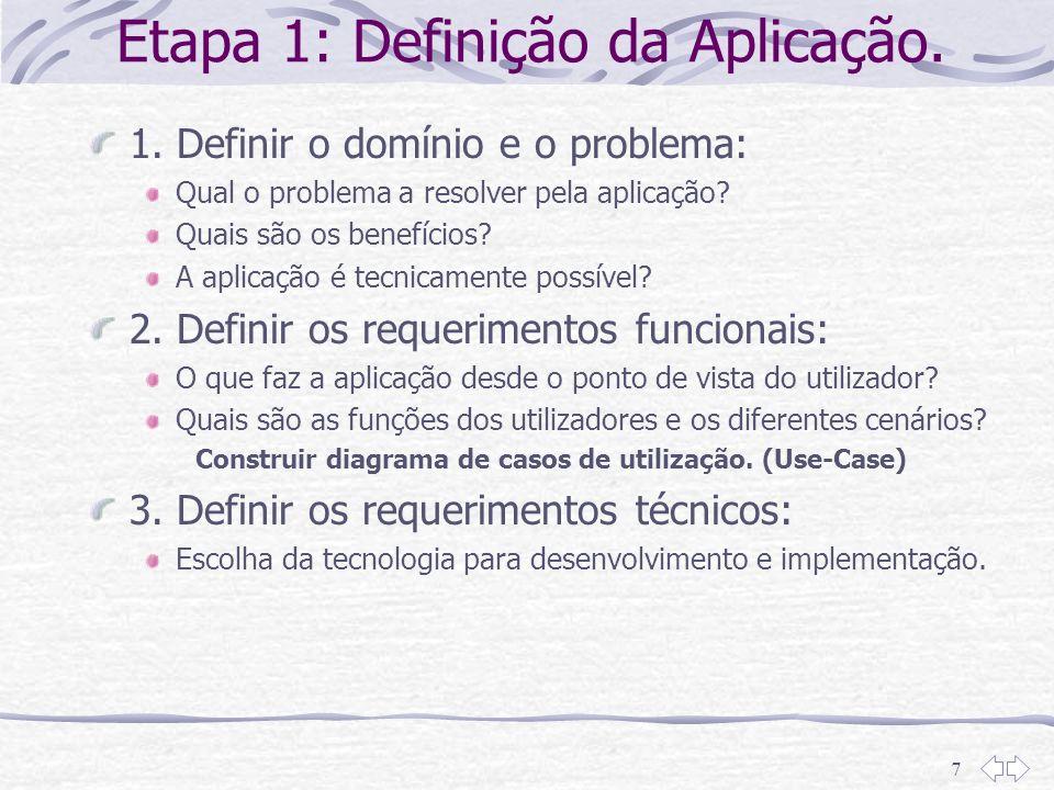 7 Etapa 1: Definição da Aplicação. 1. Definir o domínio e o problema: Qual o problema a resolver pela aplicação? Quais são os benefícios? A aplicação