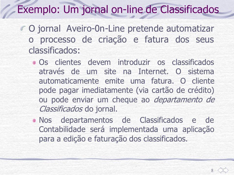 8 Exemplo: Um jornal on-line de Classificados O jornal Aveiro-0n-Line pretende automatizar o processo de criação e fatura dos seus classificados: Os c