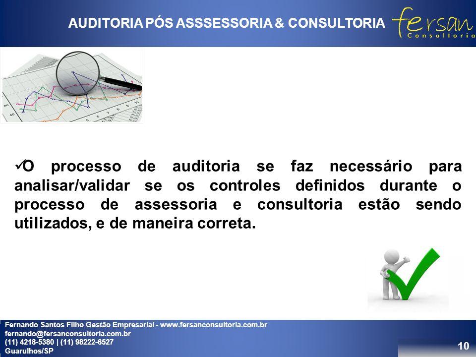 10 AUDITORIA PÓS ASSSESSORIA & CONSULTORIA O processo de auditoria se faz necessário para analisar/validar se os controles definidos durante o processo de assessoria e consultoria estão sendo utilizados, e de maneira correta.