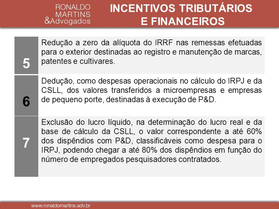 INCENTIVOS TRIBUTÁRIOS E FINANCEIROS 5 Redução a zero da alíquota do IRRF nas remessas efetuadas para o exterior destinadas ao registro e manutenção d