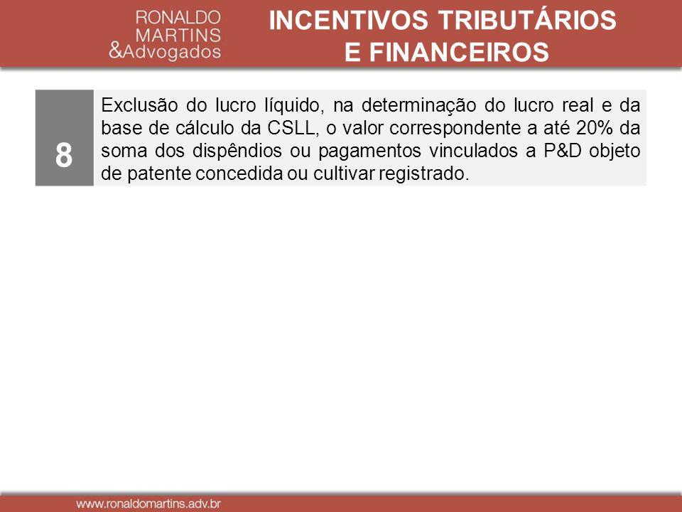 INCENTIVOS TRIBUTÁRIOS E FINANCEIROS 8 Exclusão do lucro líquido, na determinação do lucro real e da base de cálculo da CSLL, o valor correspondente a