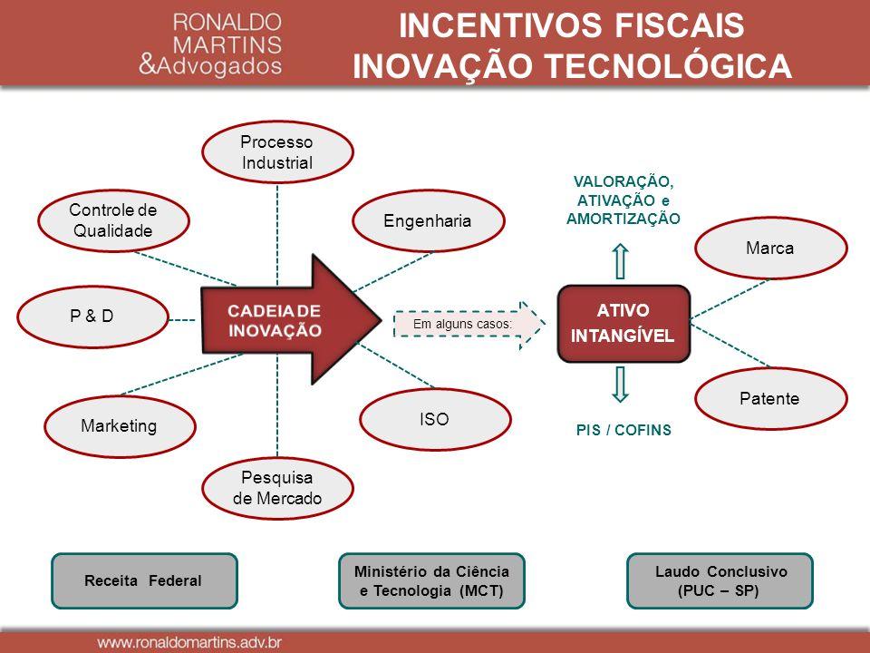 ATIVO INTANGÍVEL Receita Federal Processo Industrial Em alguns casos: Controle de Qualidade Engenharia P & D Marketing ISO Marca Patente Ministério da