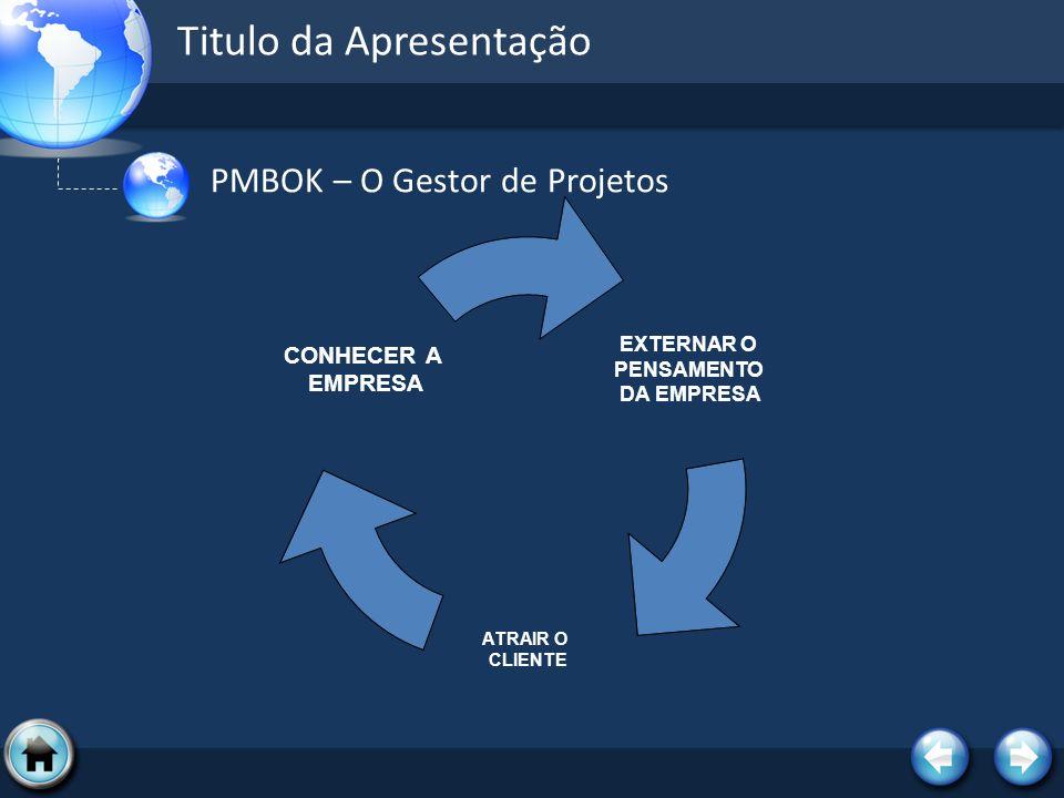 Titulo da Apresentação PMBOK – O Gestor de Projetos EXTERNAR O PENSAMENTO DA EMPRESA ATRAIR O CLIENTE CONHECER A EMPRESA
