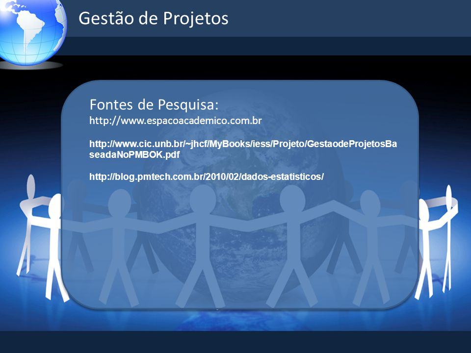 Gestão de Projetos Fontes de Pesquisa: http://www.espacoacademico.com.br http://www.cic.unb.br/~jhcf/MyBooks/iess/Projeto/GestaodeProjetosBa seadaNoPM