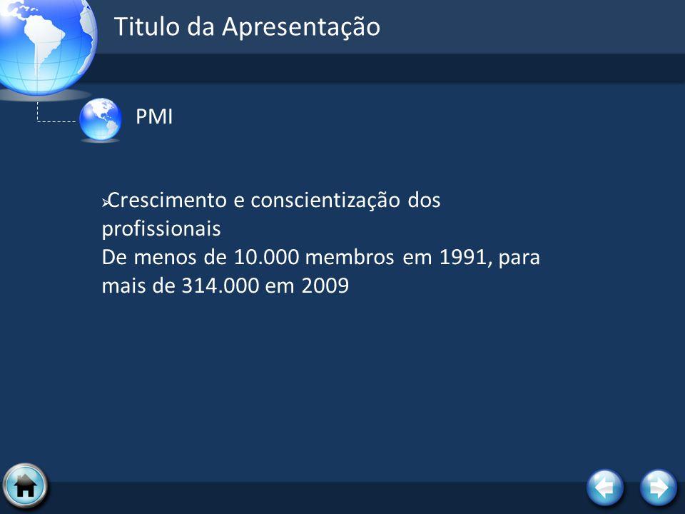 Titulo da Apresentação PMI Crescimento e conscientização dos profissionais De menos de 10.000 membros em 1991, para mais de 314.000 em 2009