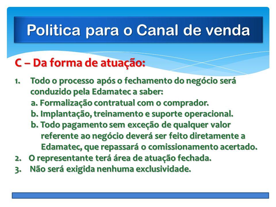 Politica para o Canal de venda C – Da forma de atuação: 1.Todo o processo após o fechamento do negócio será conduzido pela Edamatec a saber: a. Formal
