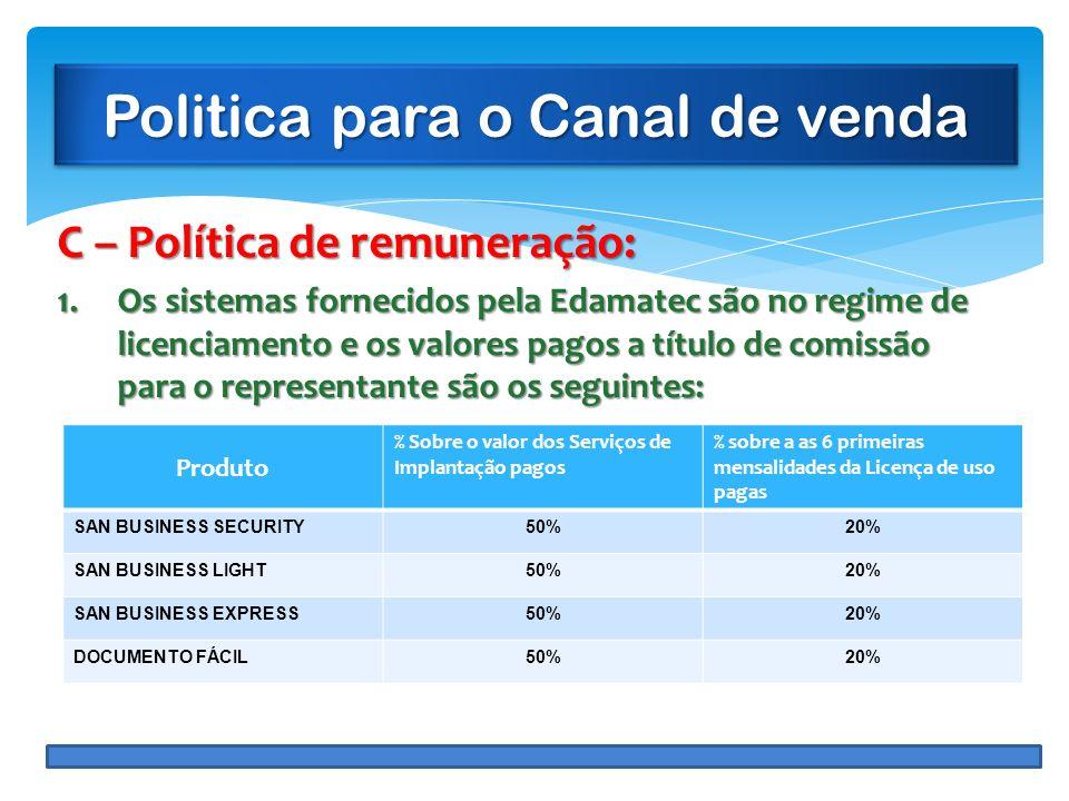 Politica para o Canal de venda C – Política de remuneração: 1.Os sistemas fornecidos pela Edamatec são no regime de licenciamento e os valores pagos a