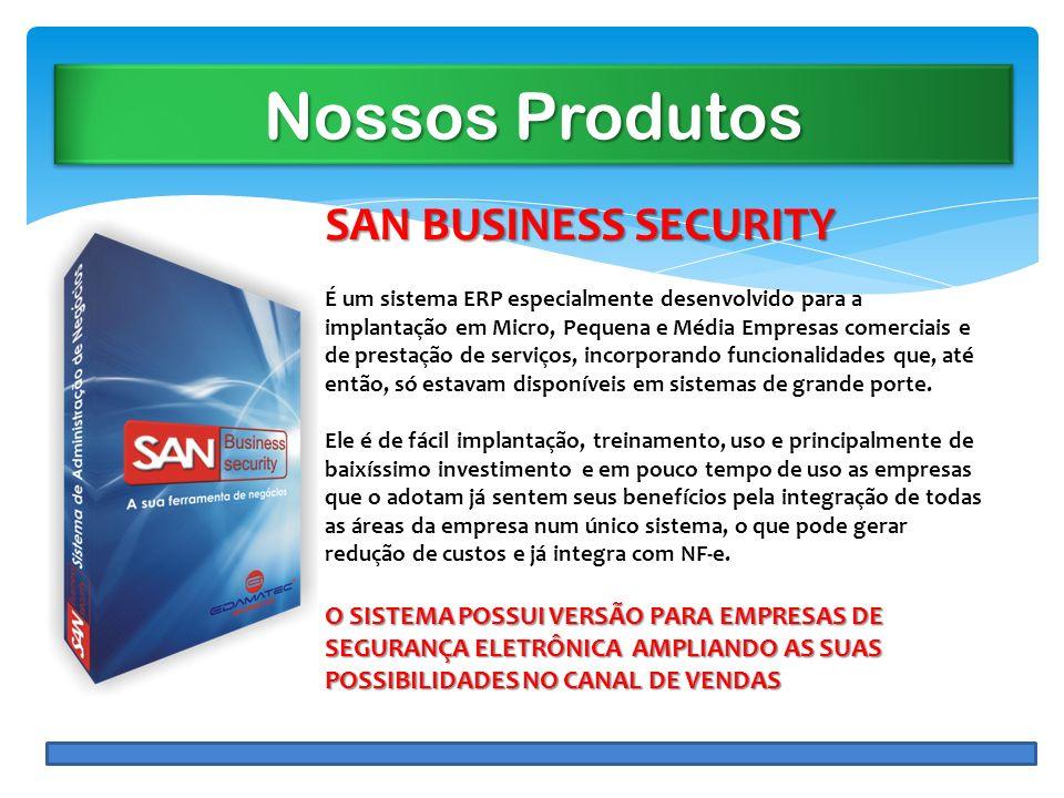 Nossos Produtos SAN BUSINESS SECURITY É um sistema ERP especialmente desenvolvido para a implantação em Micro, Pequena e Média Empresas comerciais e d
