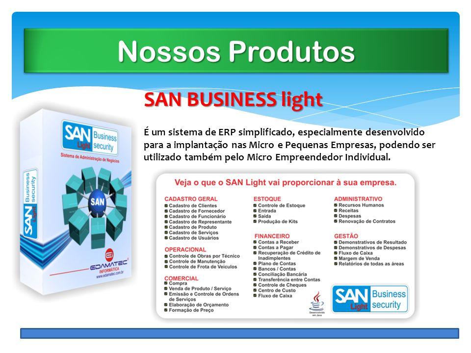 Nossos Produtos SAN BUSINESS light É um sistema de ERP simplificado, especialmente desenvolvido para a implantação nas Micro e Pequenas Empresas, pode
