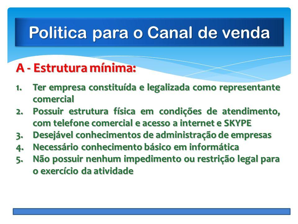 Politica para o Canal de venda A - Estrutura mínima: 1.Ter empresa constituída e legalizada como representante comercial 2.Possuir estrutura física em