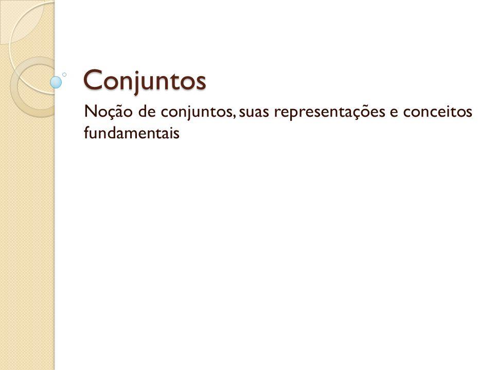 Conjuntos Noção de conjuntos, suas representações e conceitos fundamentais