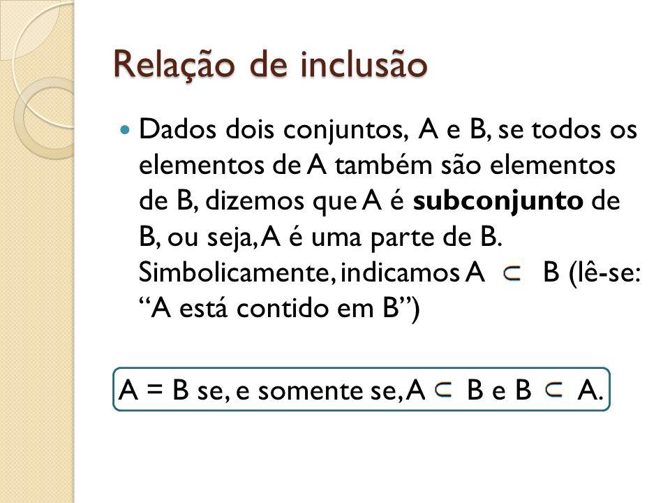 Relação de inclusão Dados dois conjuntos, A e B, se todos os elementos de A também são elementos de B, dizemos que A é subconjunto de B, ou seja, A é