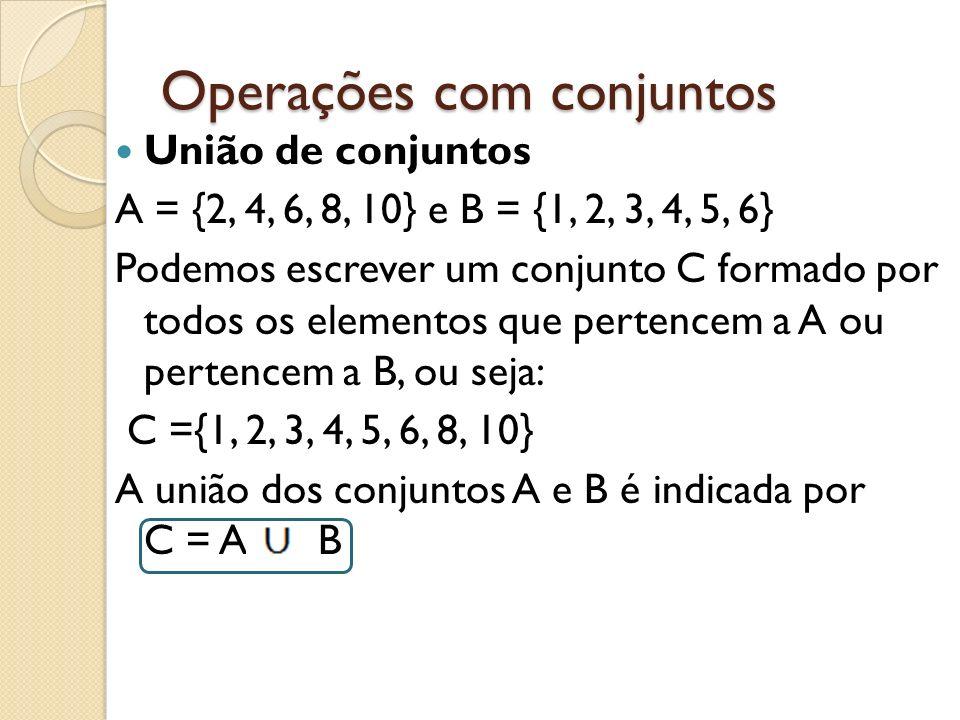 Operações com conjuntos União de conjuntos A = {2, 4, 6, 8, 10} e B = {1, 2, 3, 4, 5, 6} Podemos escrever um conjunto C formado por todos os elementos