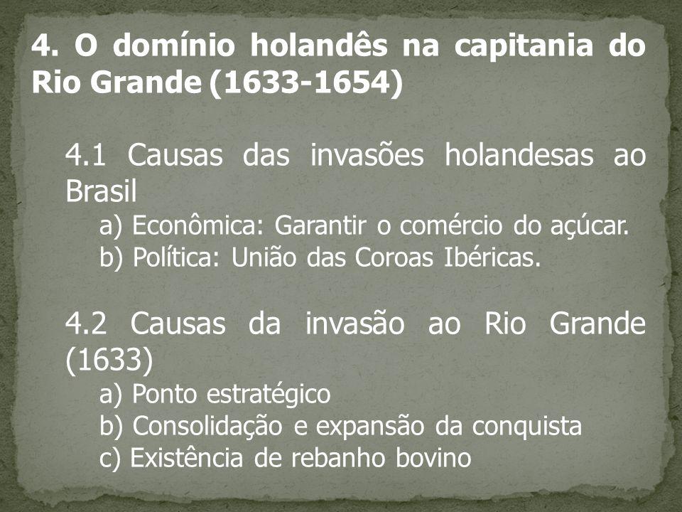4. O domínio holandês na capitania do Rio Grande (1633-1654) 4.1 Causas das invasões holandesas ao Brasil a) Econômica: Garantir o comércio do açúcar.