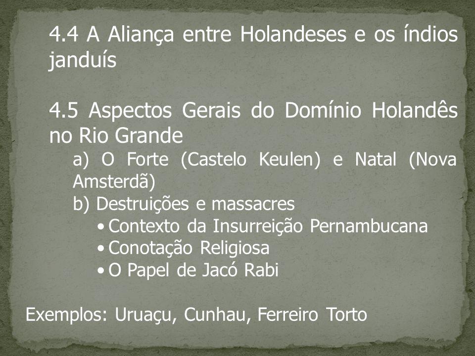 4.4 A Aliança entre Holandeses e os índios janduís 4.5 Aspectos Gerais do Domínio Holandês no Rio Grande a) O Forte (Castelo Keulen) e Natal (Nova Ams
